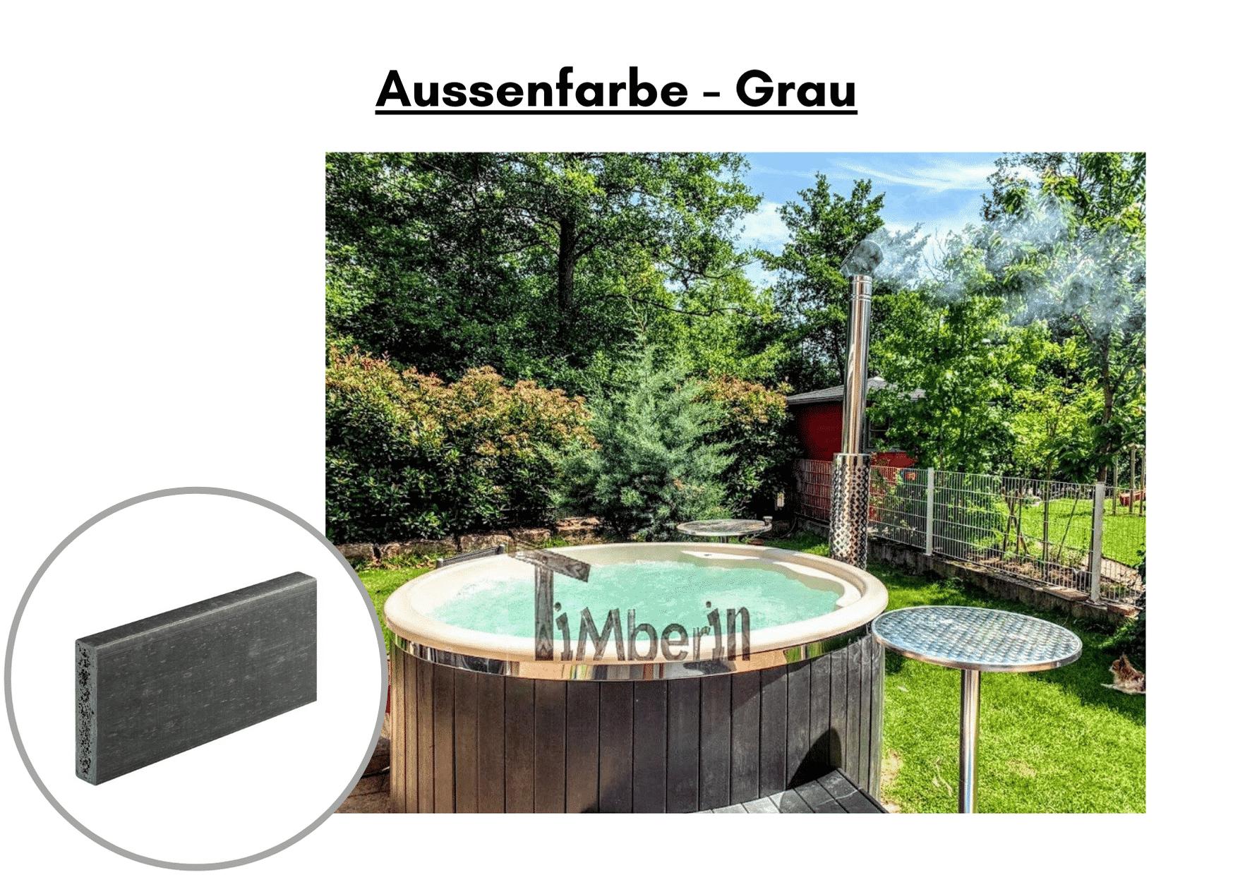 Außenfarbe grau für Whirlpool im Freien mit Smart Pelletofen