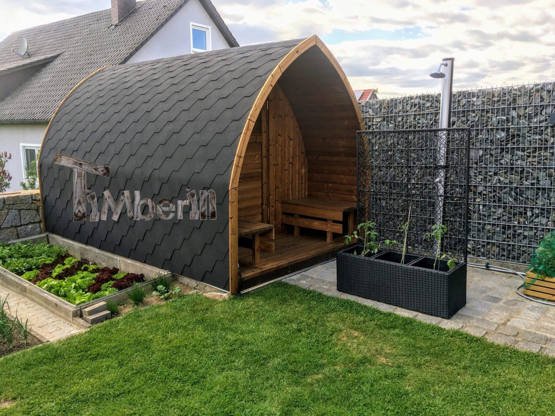 Außensauna Gartensauna Iglu Pod mit Holzofen Elektrisch 2 4 scaled