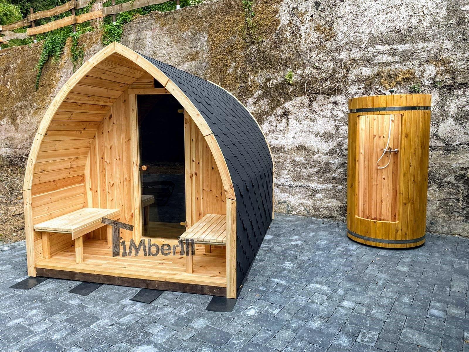 Außensauna Gartensauna Iglu Pod mit Holzofen Elektrisch 3 4
