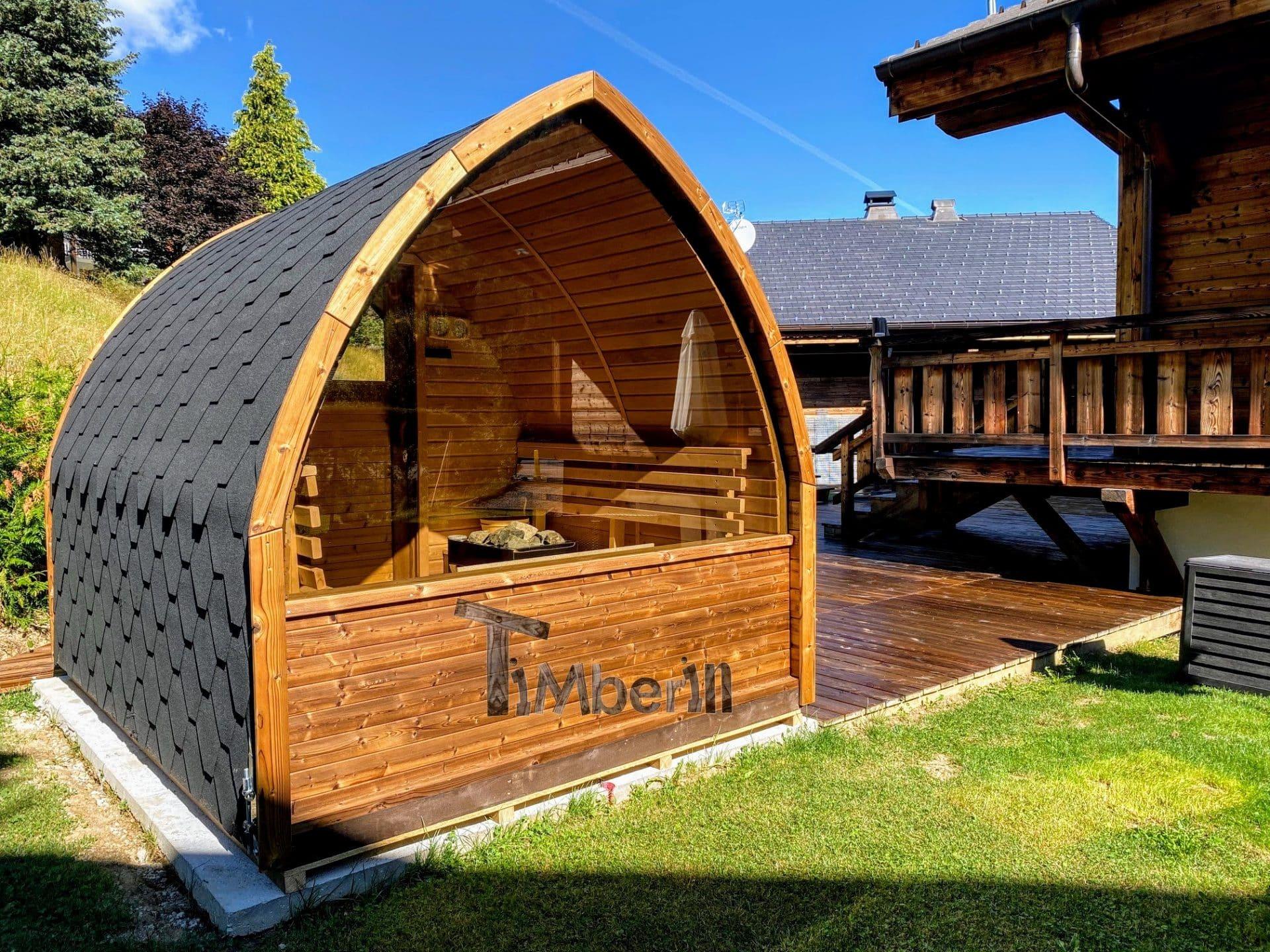 Außensauna Gartensauna Iglu Pod mit Holzofen Elektrisch 4