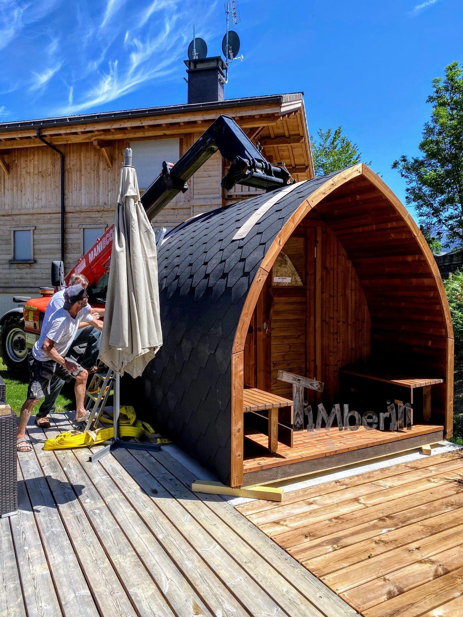 Außensauna Gartensauna Iglu Pod mit Holzofen Elektrisch 7