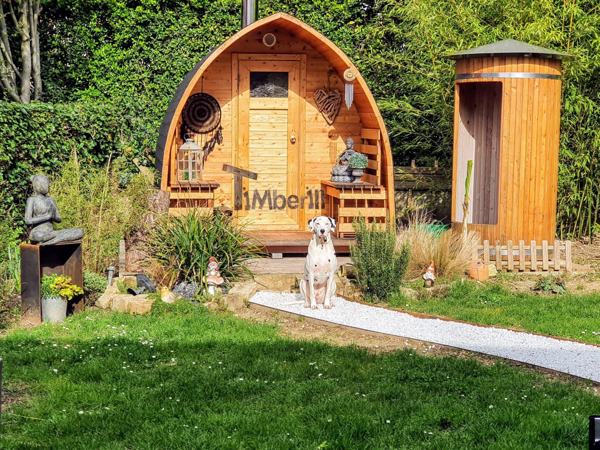 Außensauna Gartensauna Iglu Pod mit Holzofen Elektrisch scaled