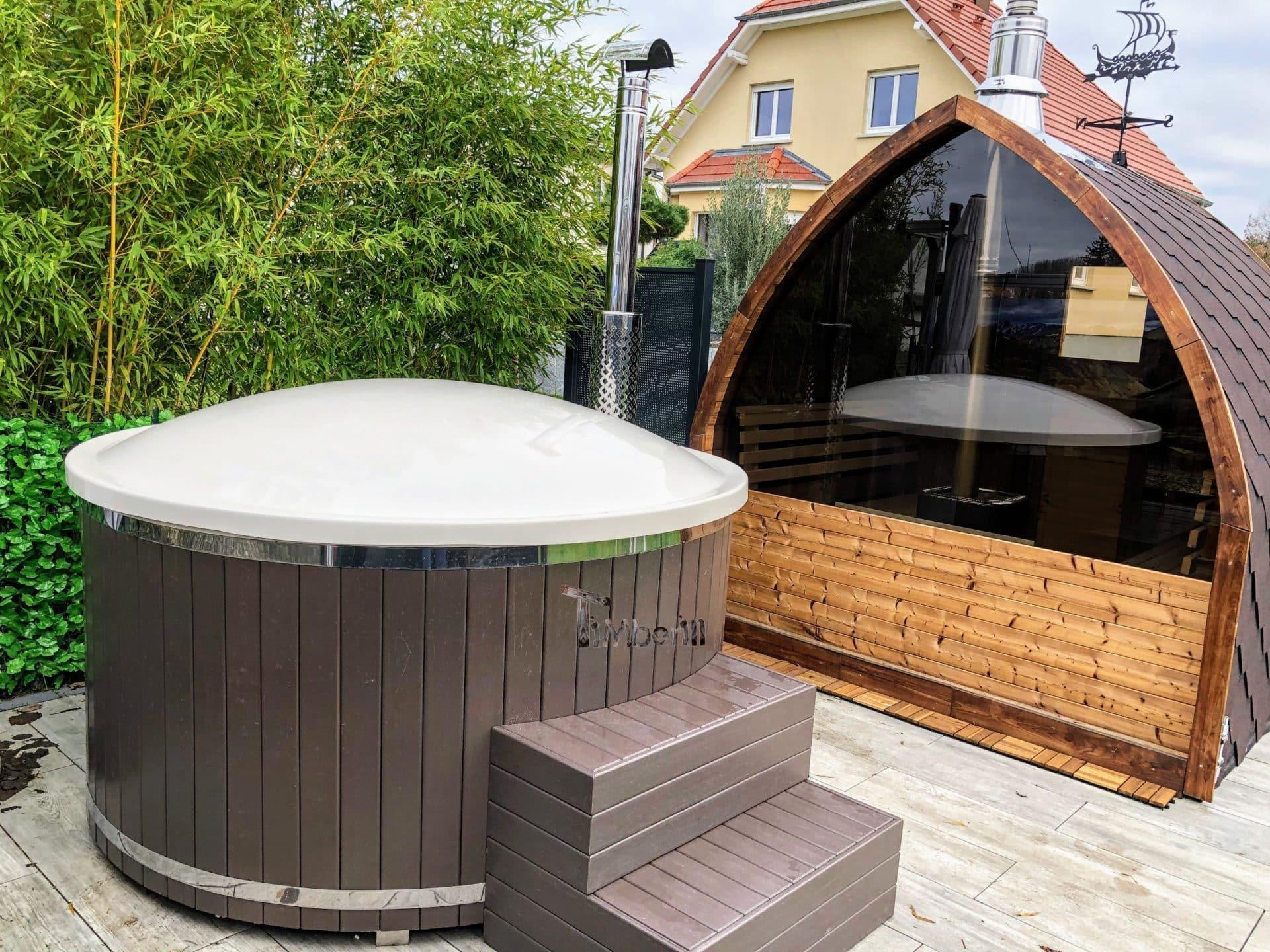 Aussensauna Gartensauna Iglu Pod mit Holzofen Elektrisch 1 1 scaled