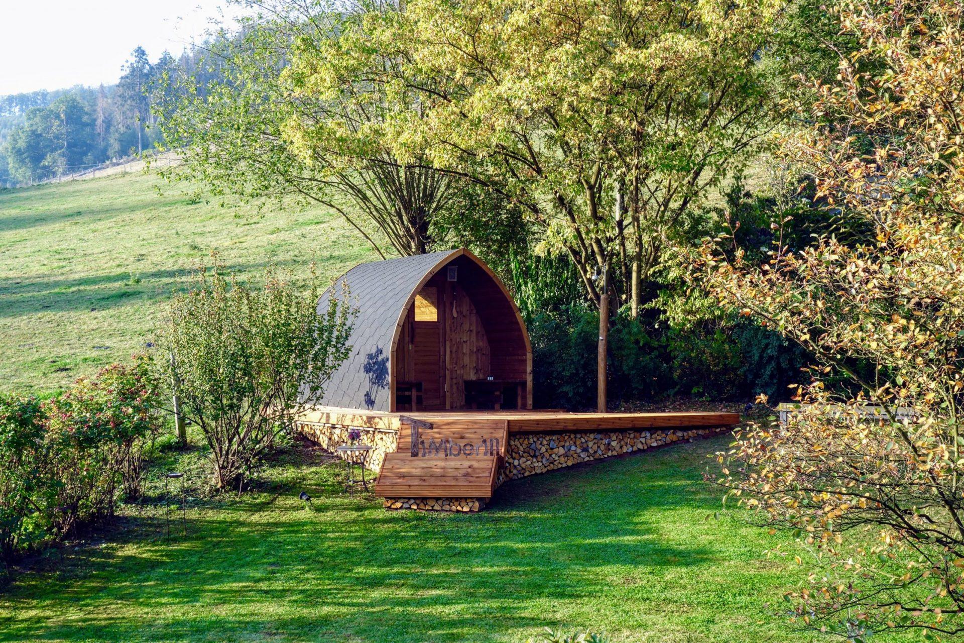 Aussensauna Gartensauna Iglu Pod mit Holzofen Elektrisch 1 scaled
