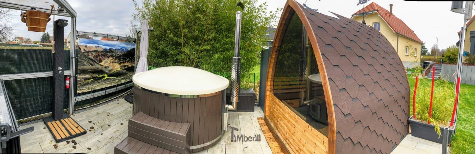 Aussensauna Gartensauna Iglu Pod mit Holzofen Elektrisch 2 1 scaled