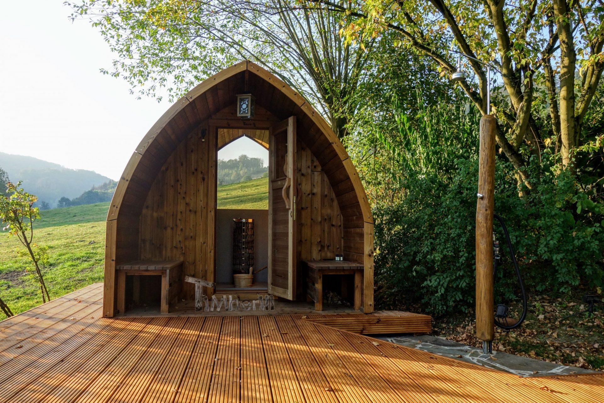 Aussensauna Gartensauna Iglu Pod mit Holzofen Elektrisch 2 scaled