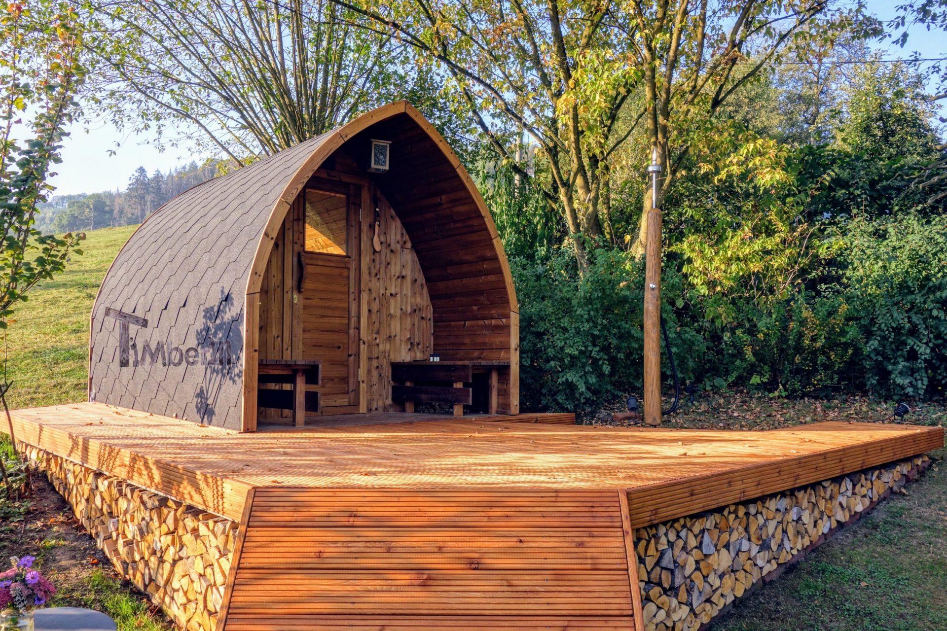 Aussensauna Gartensauna Iglu Pod mit Holzofen Elektrisch 3 scaled