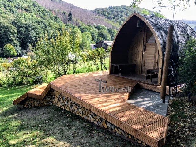 Aussensauna Gartensauna Iglu Pod mit Holzofen Elektrisch 4