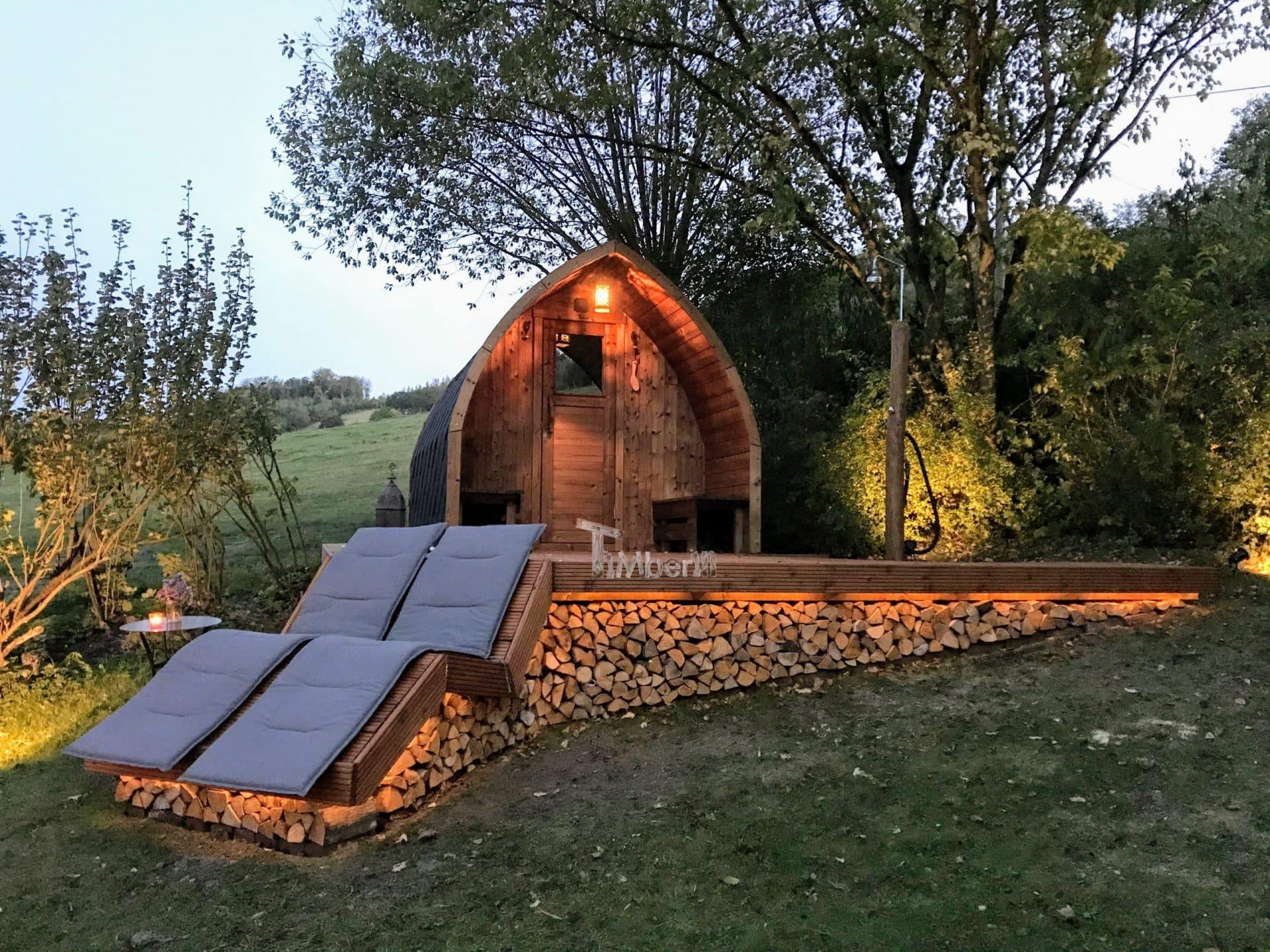 Aussensauna Gartensauna Iglu Pod mit Holzofen Elektrisch 5 scaled