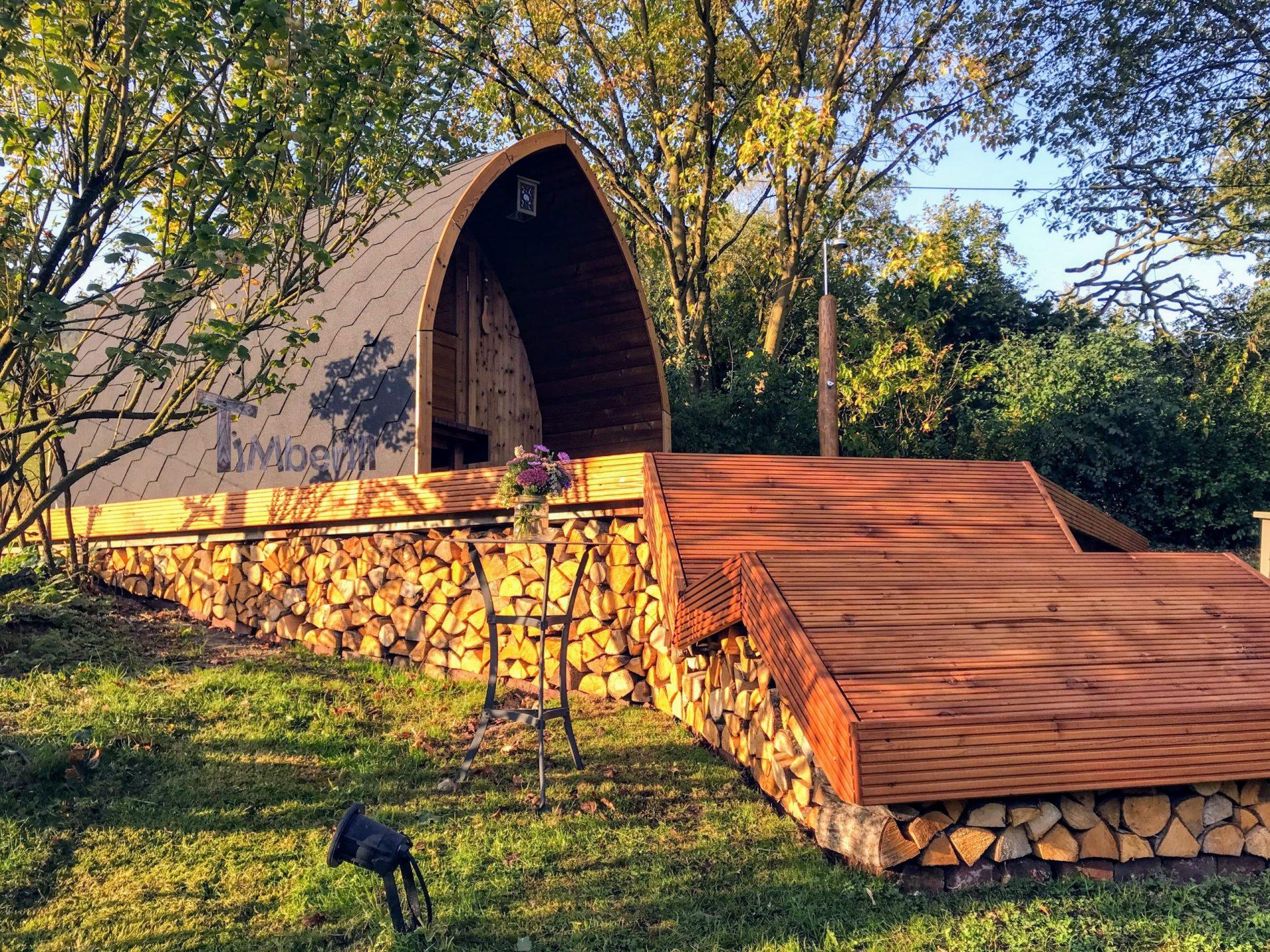 Aussensauna Gartensauna Iglu Pod mit Holzofen Elektrisch 6 scaled