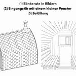 Bänke wie in Bildern Eingangstür mit einem kleinen Fenster Belüftungfür die Außensauna