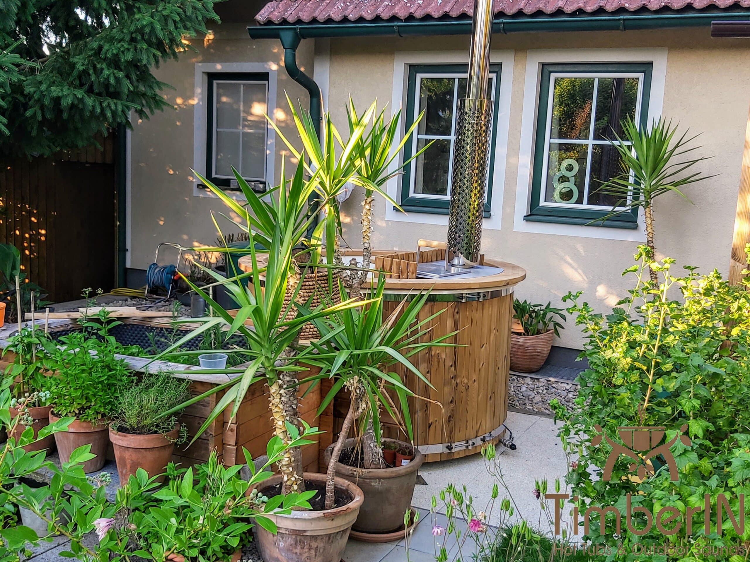 Badefass Badezuber Garten mit Innenofen GFK 4 scaled