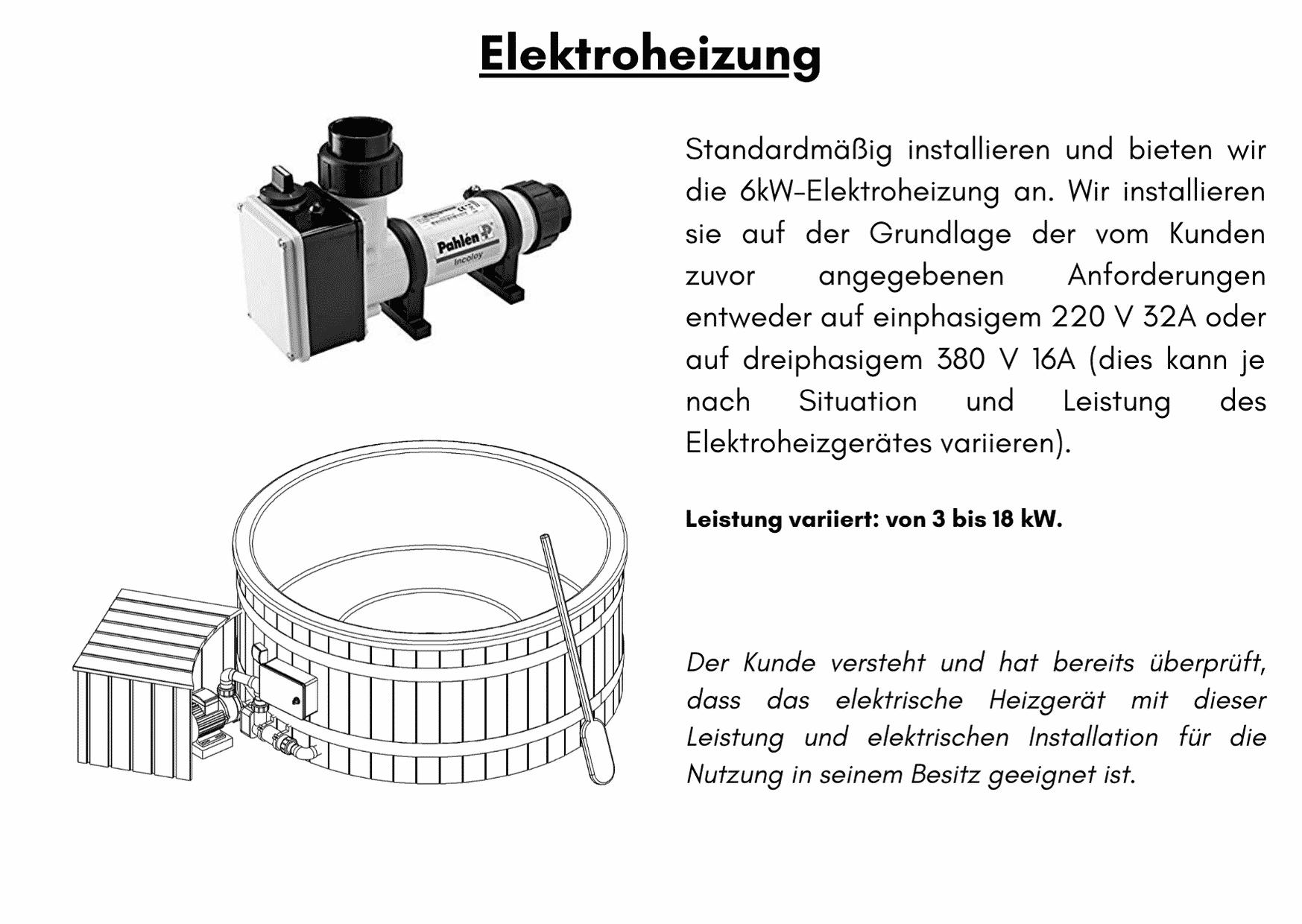 Elektrische Heizung 6 kW Badezuber GFK mit Aussenofen Holzofen Gasofen Dieselofen2
