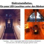Elektroinstallation. Ein paar LED Leuchten unter den Bänken für die Außensauna