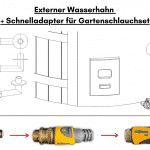 Externer Wasserhahn Schnelladapter für Gartenschlauchset für Badetonne aus Holz