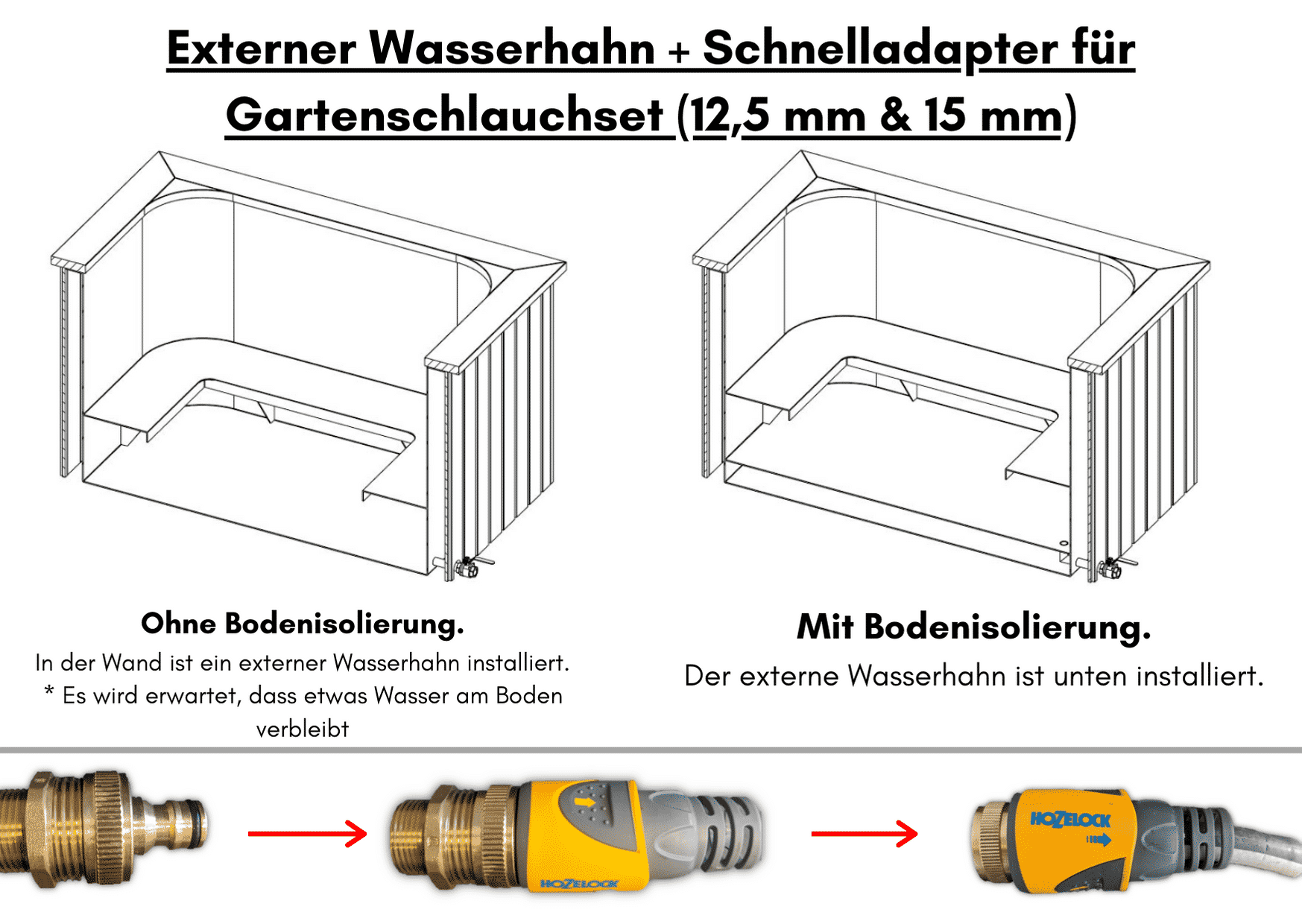 Externer Wasserhahn Schnelladapter fuer Gartenschlauchset 125 mm 15 mm