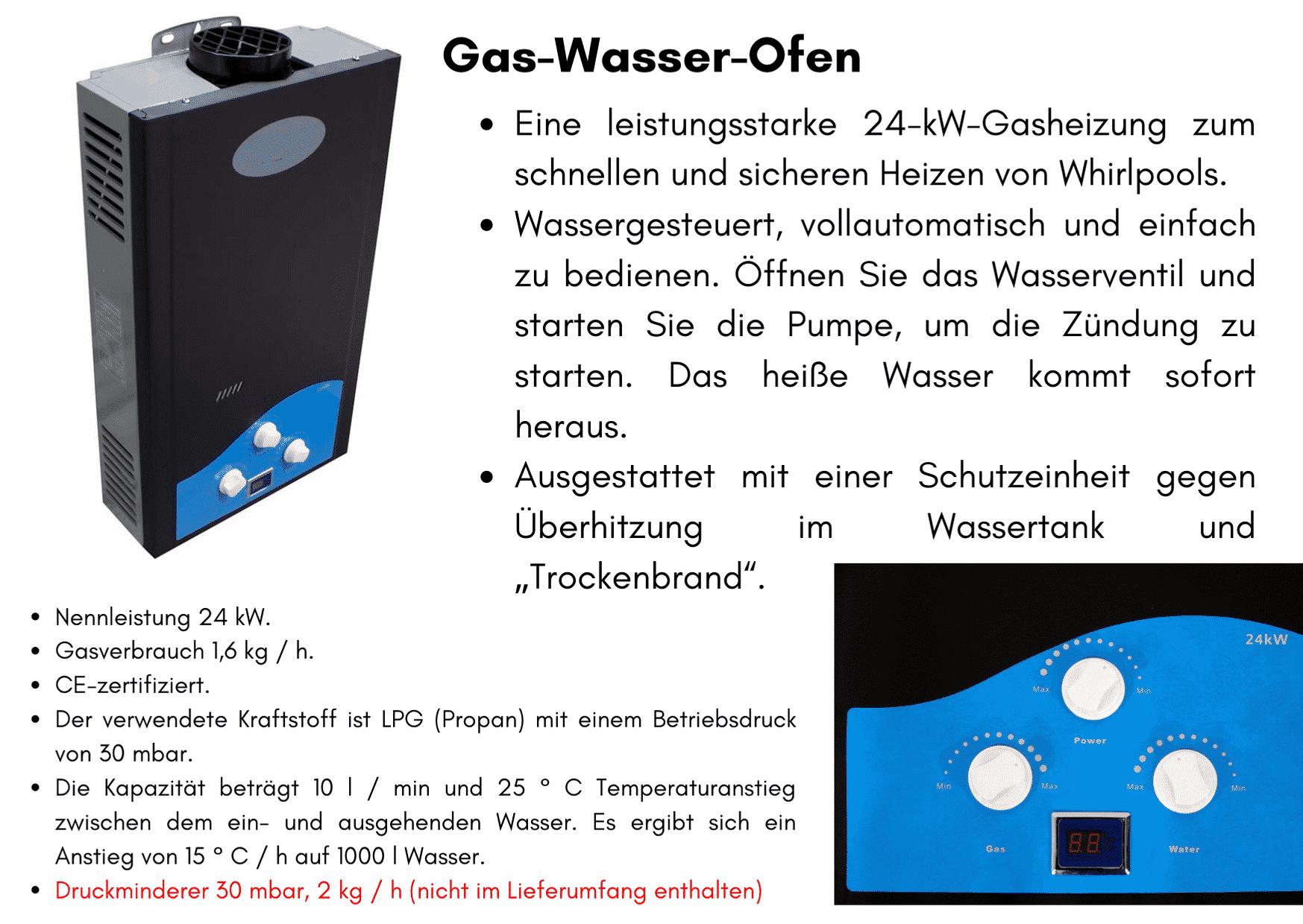 Gas Wasser Ofen Badezuber GFK mit Aussenofen Holzofen Gasofen Dieselofen
