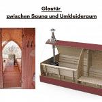 Glastür zwischen Sauna und Umkleideraum für die Außensauna