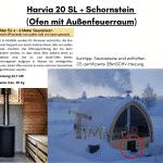 Harvia 20 SL CE Zeichen 2BImSCHV Schornstein Ofen mit Außenfeuerraum für die Außensauna