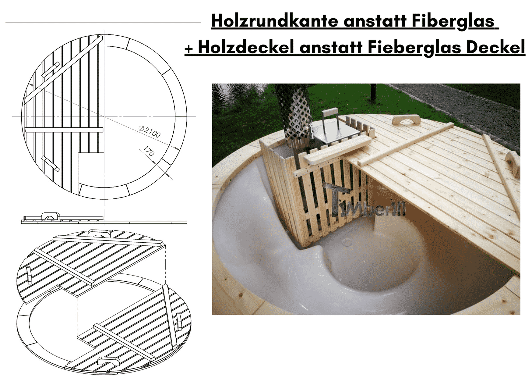 Holzrundkante anstatt Fiberglas wellness basic