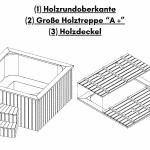 """Holzrundoberkante Große Holztreppe """"A """" Holzdeckel für quadratischen rechteckigen Badezuber"""