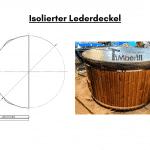 Isolierter Lederdeckel für Badetonne aus Holz