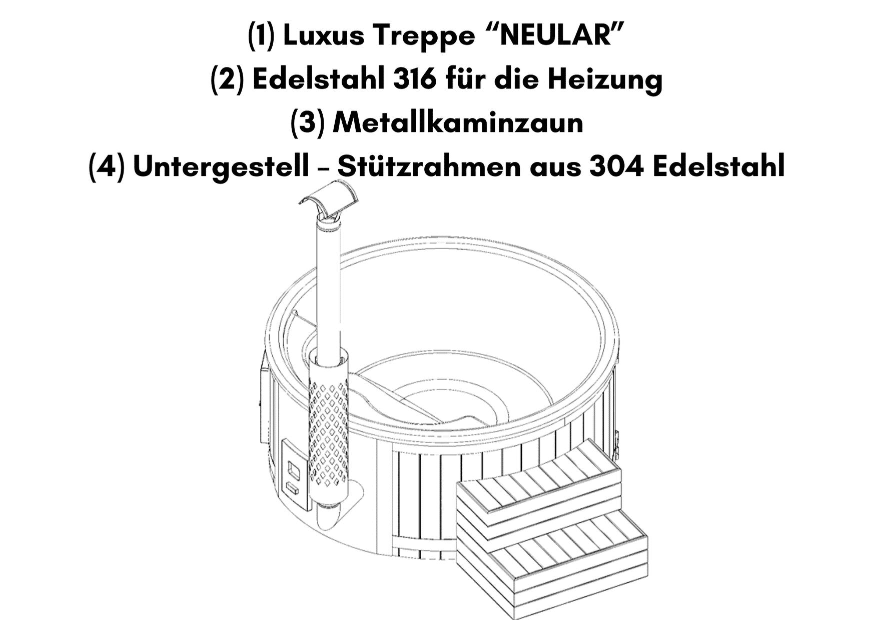"""Luxus Treppe """"NEULAR"""" für Whirlpool im Freien mit Smart Pelletofen"""