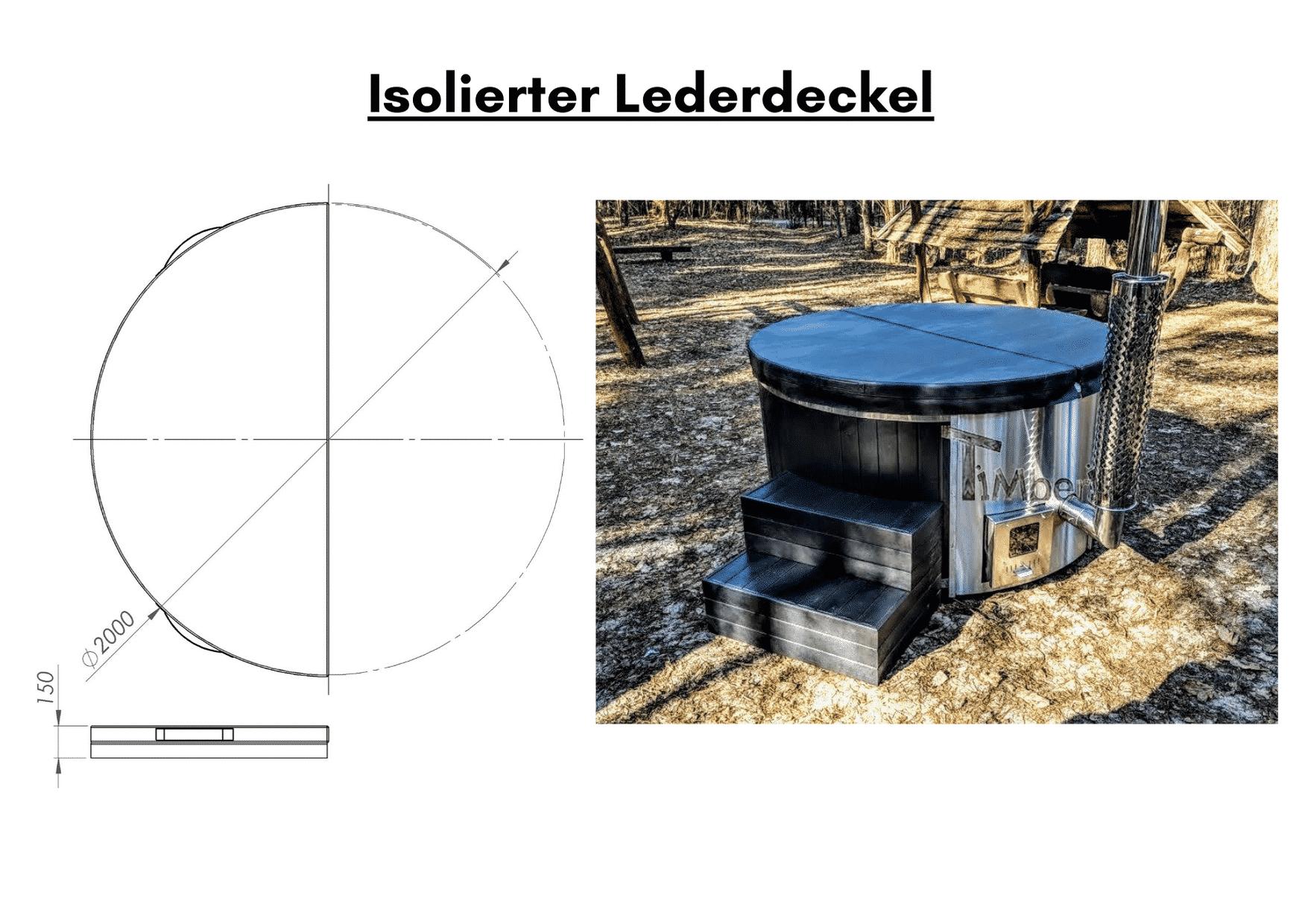 Schwarz Isolierter Lederdeckel für Whirlpool im Freien mit Smart Pelletofen