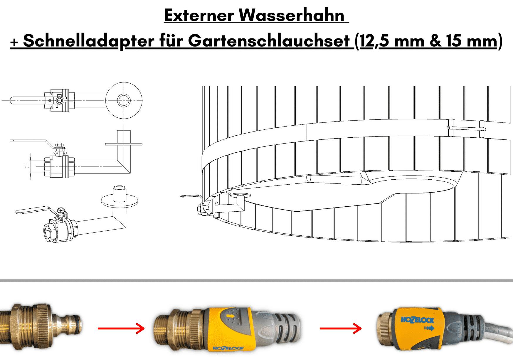 Wellness basic Externer Wasserhahn Schnelladapter fuer Gartenschlauchset