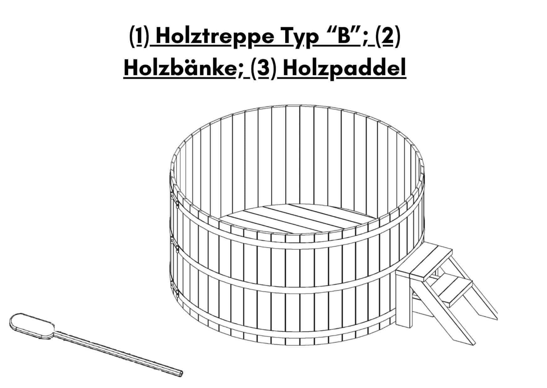 1 Holztreppe Typ B 2 Holzbaenke 3 Holzpaddel