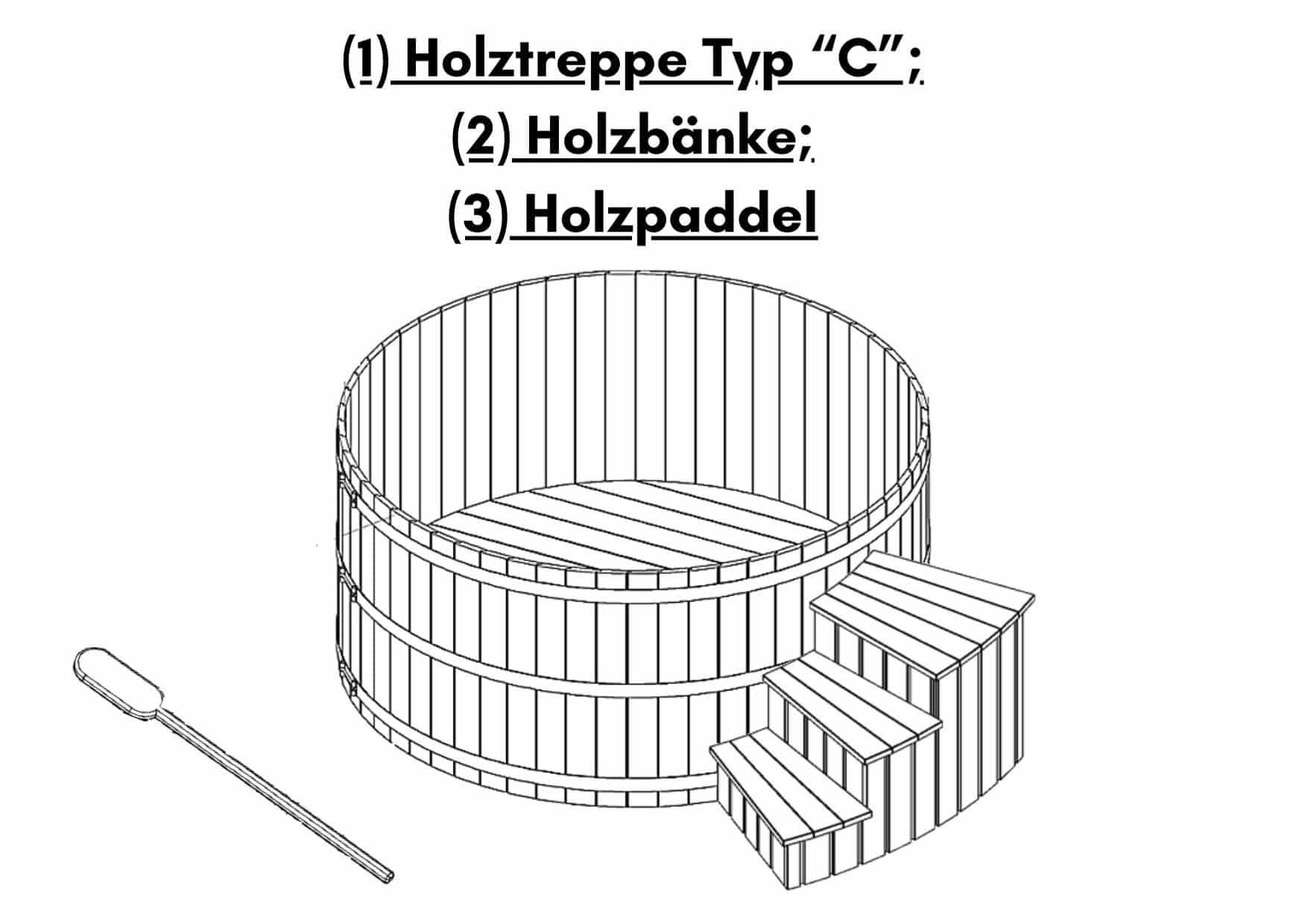 1 Holztreppe Typ C 2 Holzbaenke 3 Holzpaddel