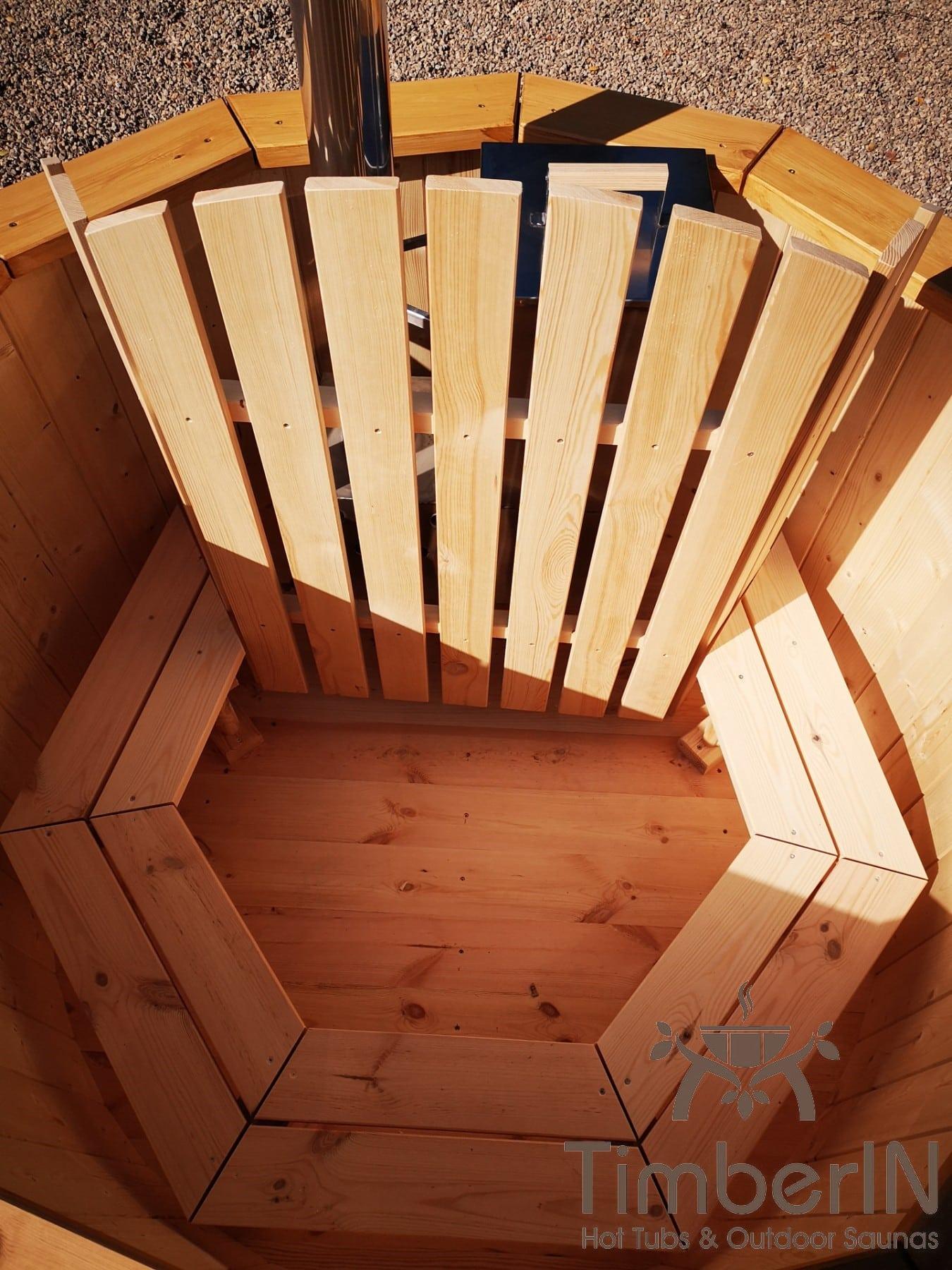 Badezuber aus Holz mit Holzofen Fichte – Laerche 1