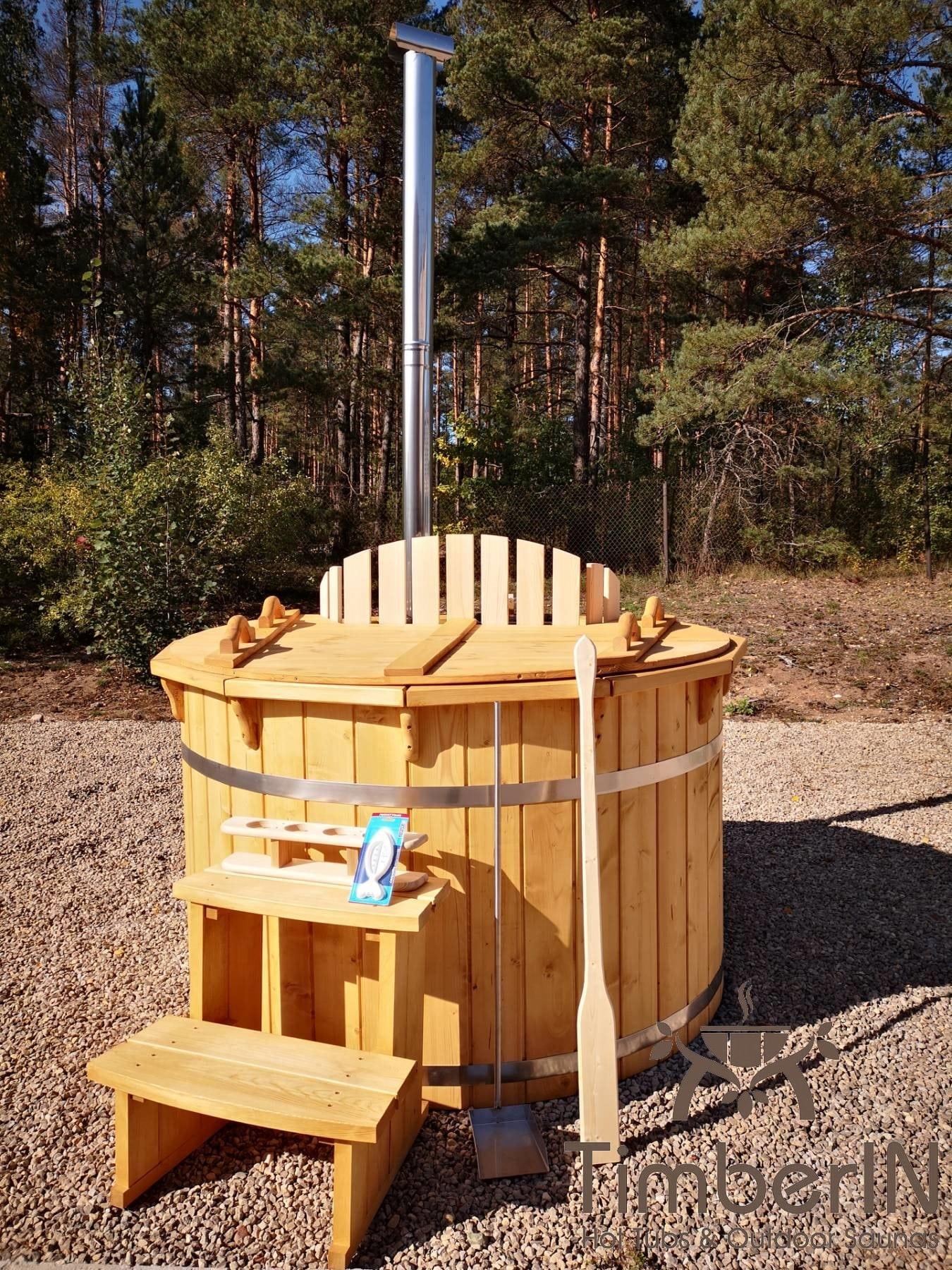 Badezuber aus Holz mit Holzofen Fichte – Laerche 11