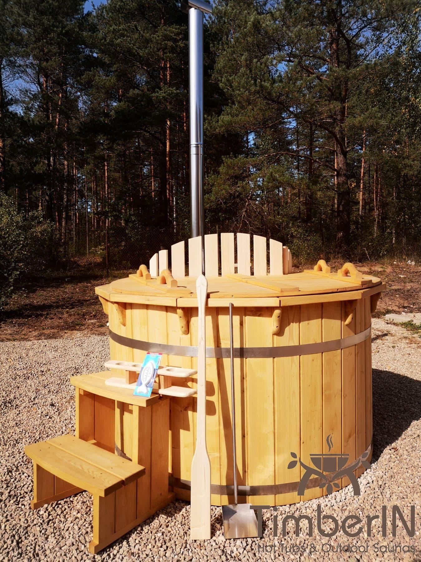 Badezuber aus Holz mit Holzofen Fichte – Laerche 12
