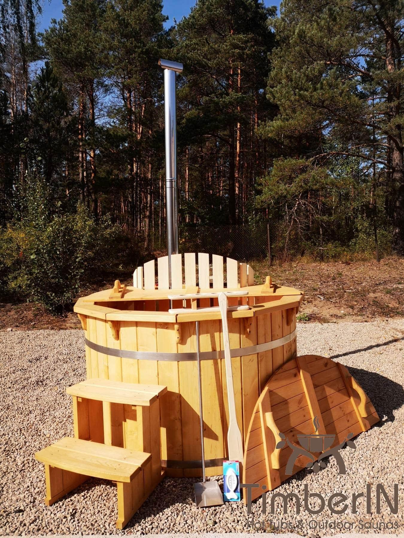 Badezuber aus Holz mit Holzofen Fichte – Laerche 16