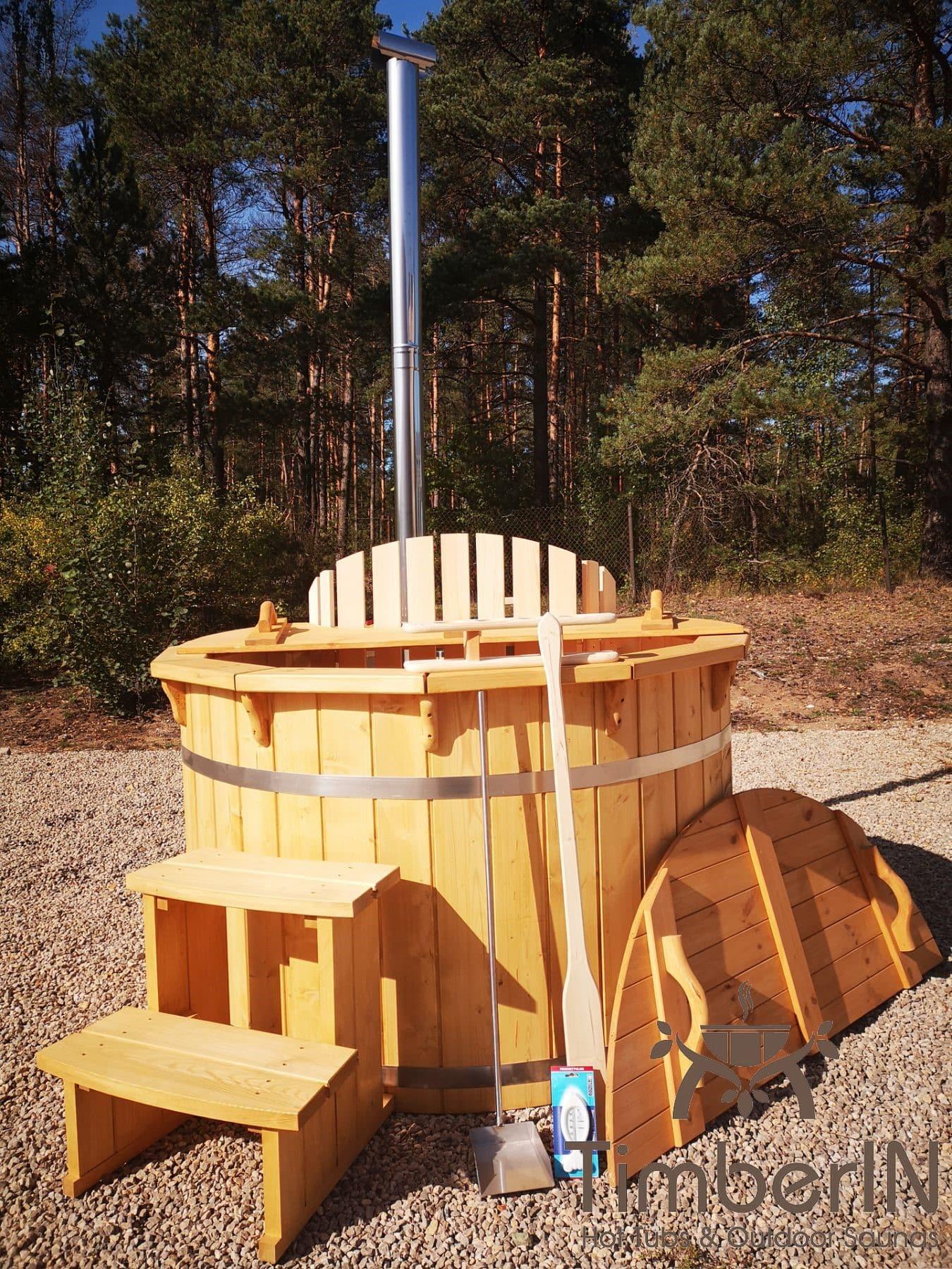 Badezuber aus Holz mit Holzofen Fichte – Laerche 17