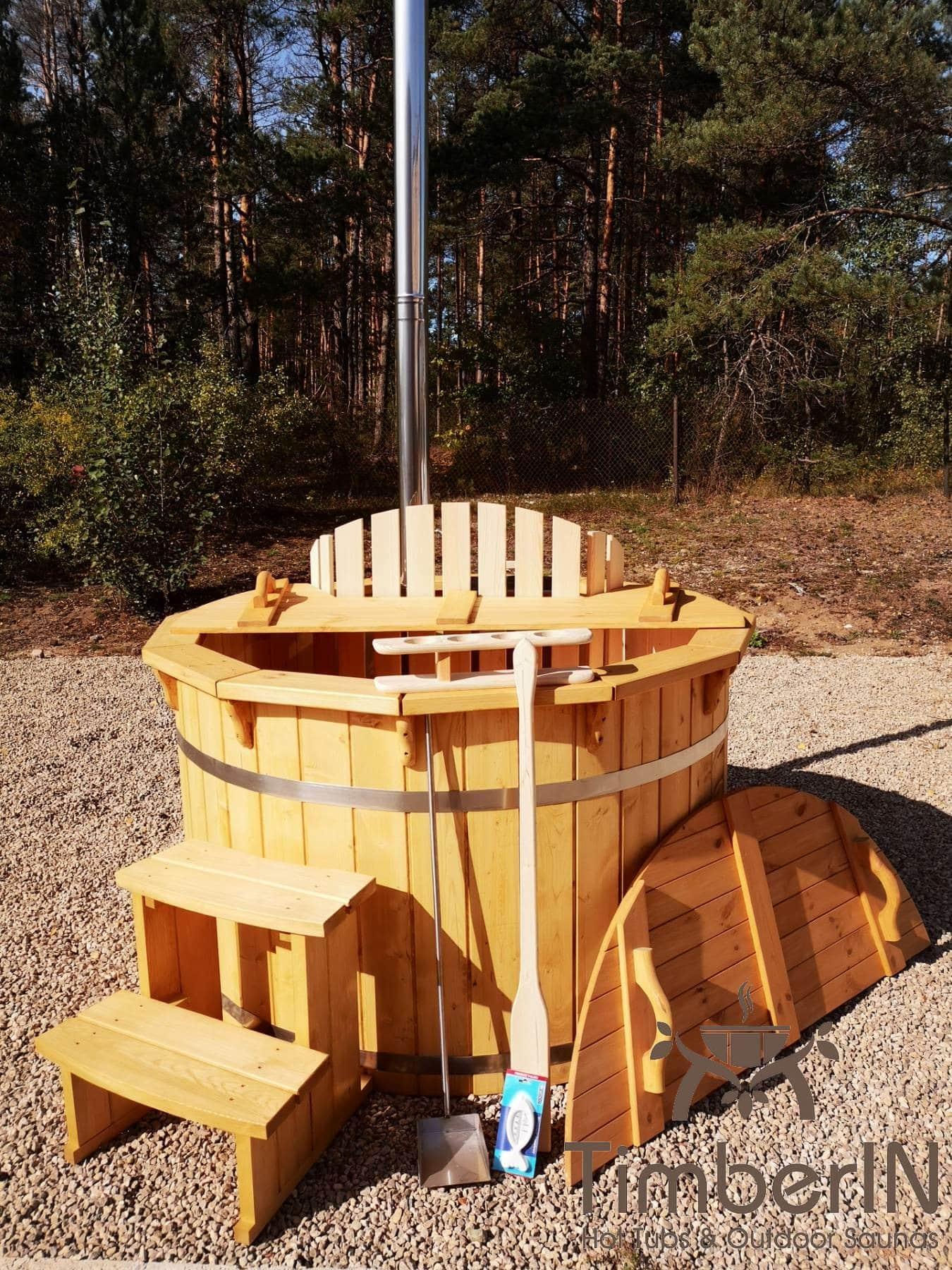 Badezuber aus Holz mit Holzofen Fichte – Laerche 18
