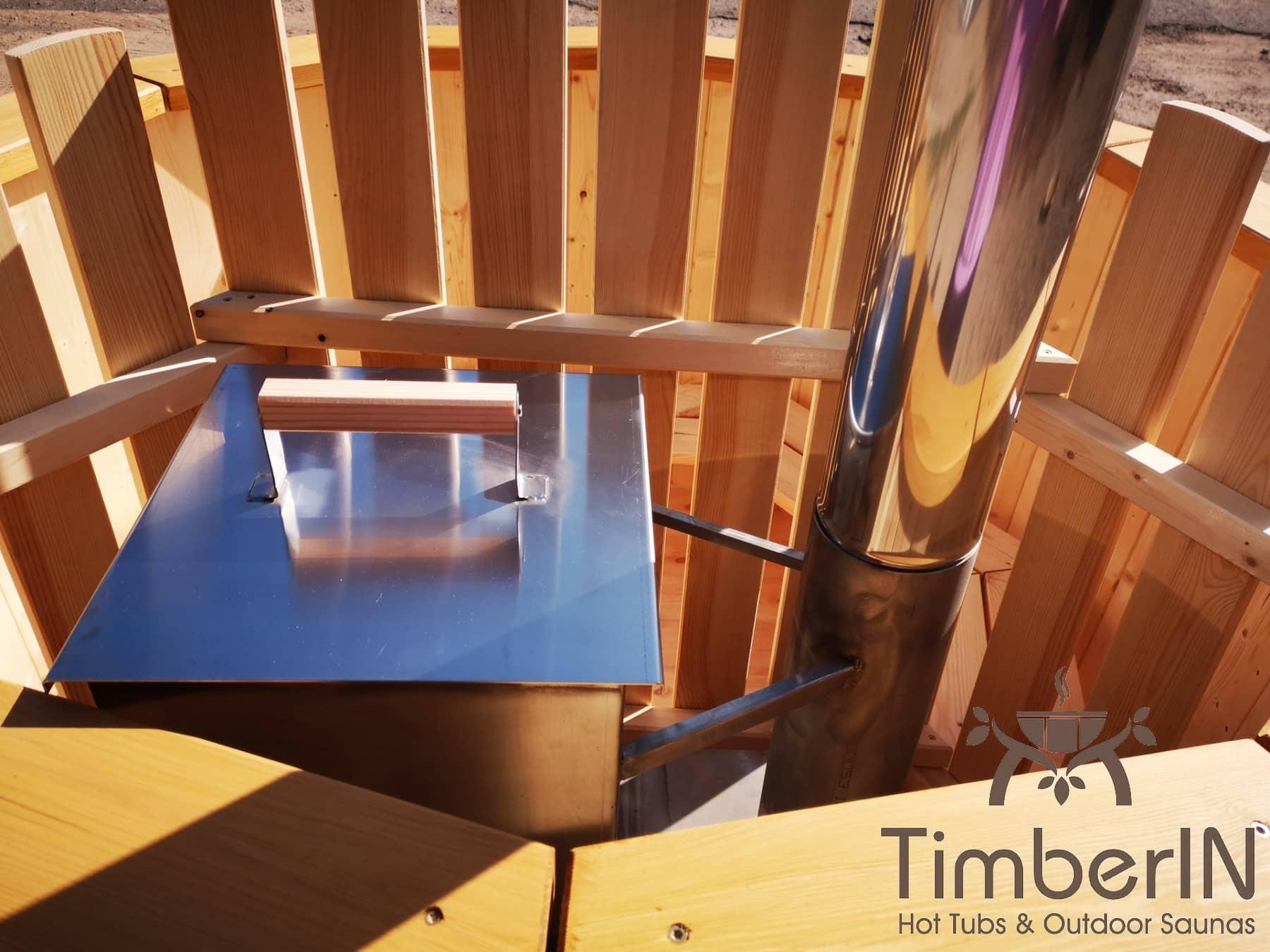 Badezuber aus Holz mit Holzofen Fichte – Laerche 2