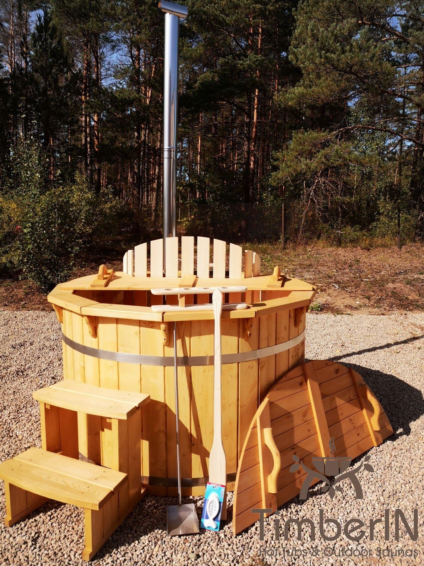 Badezuber aus Holz mit Holzofen Fichte – Laerche 20