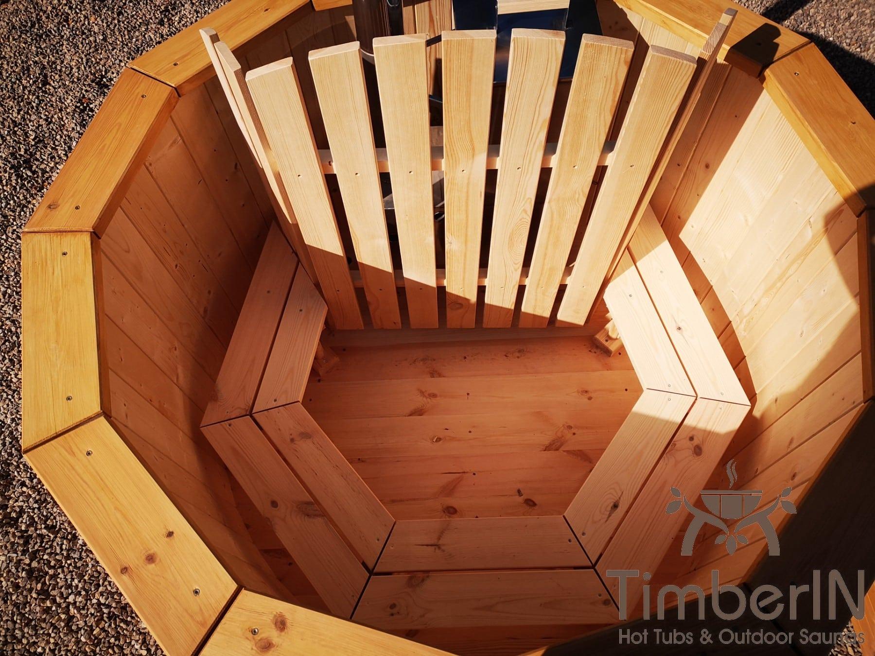 Badezuber aus Holz mit Holzofen Fichte – Laerche 21