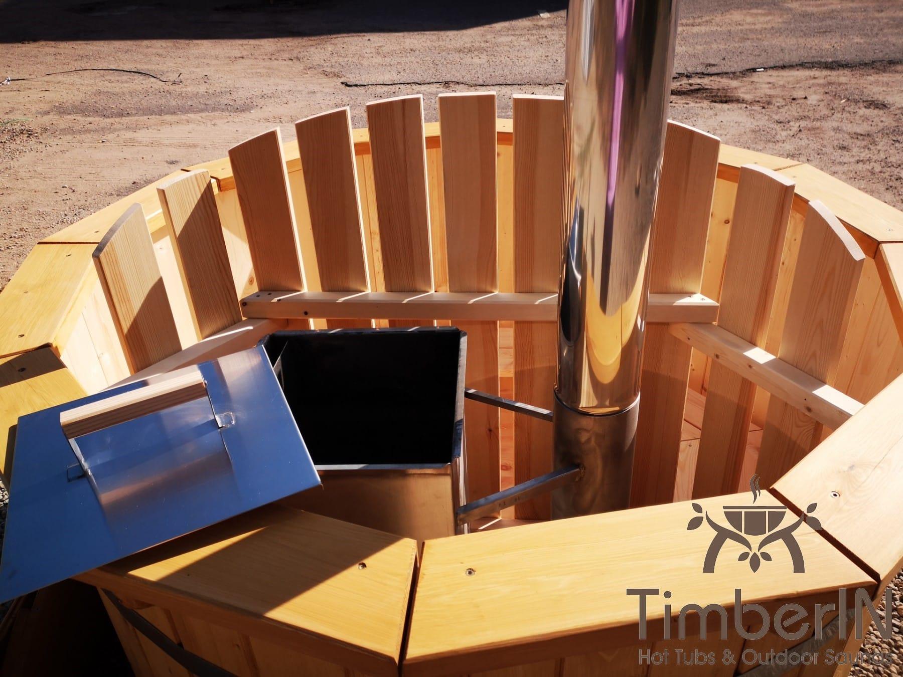 Badezuber aus Holz mit Holzofen Fichte – Laerche 3