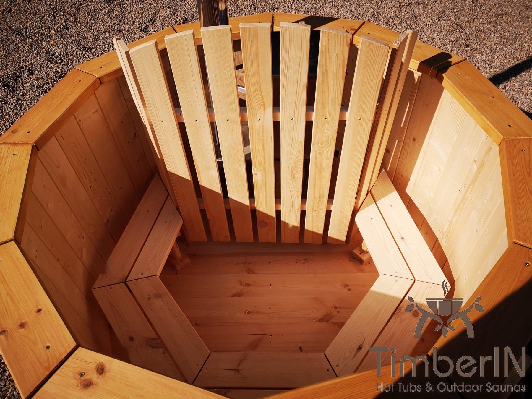 Badezuber aus Holz mit Holzofen Fichte – Laerche 4