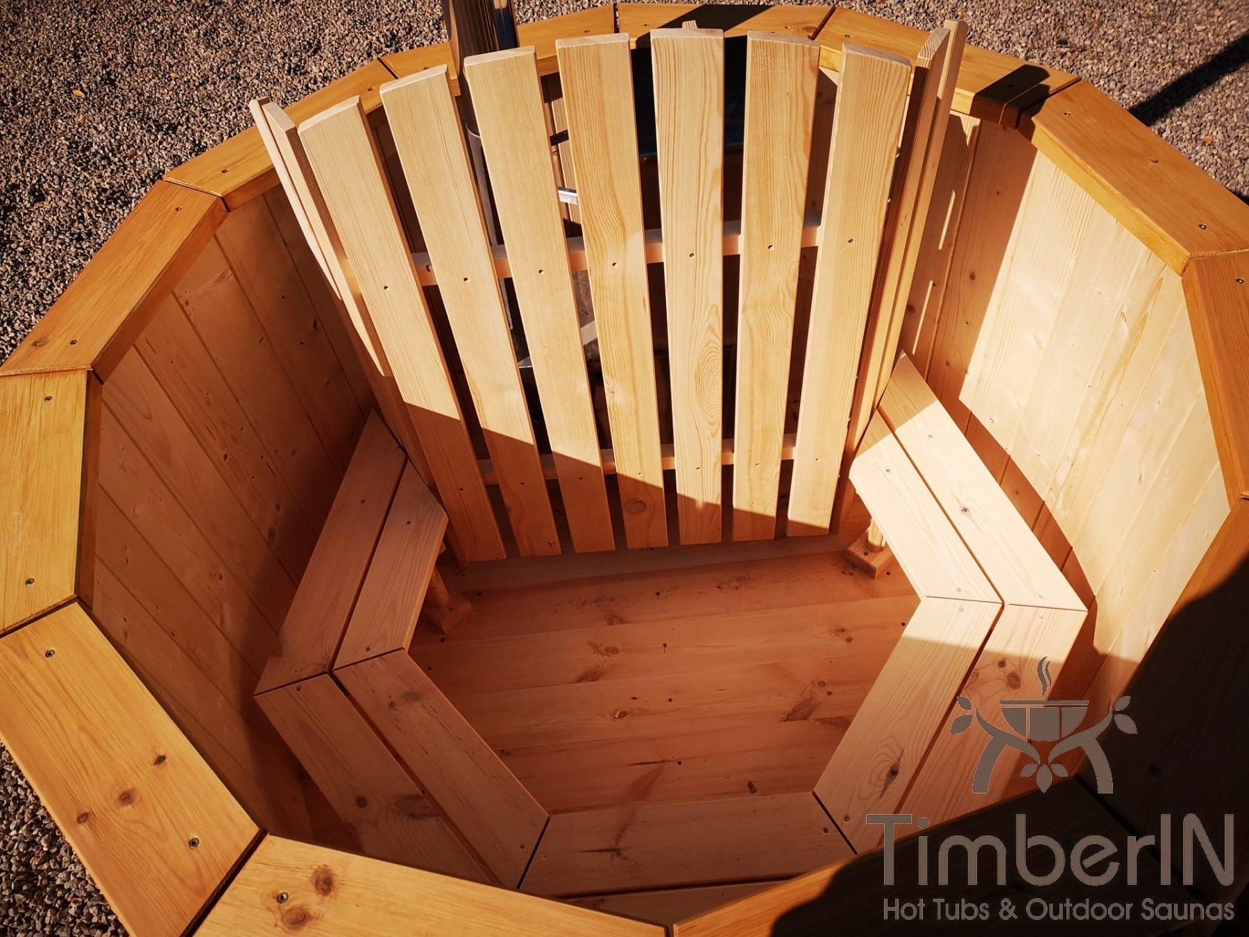 Badezuber aus Holz mit Holzofen Fichte – Laerche 5