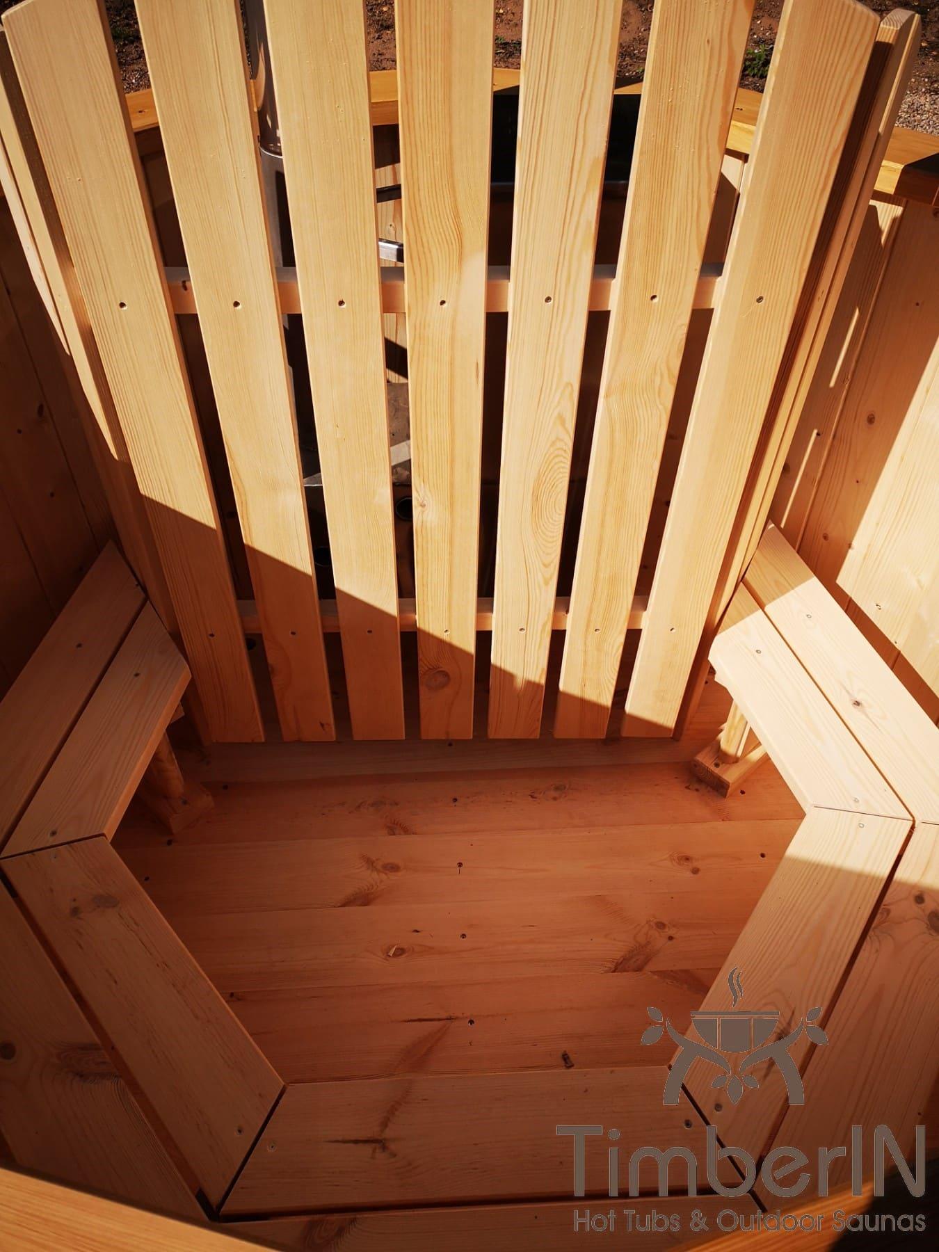 Badezuber aus Holz mit Holzofen Fichte – Laerche 6