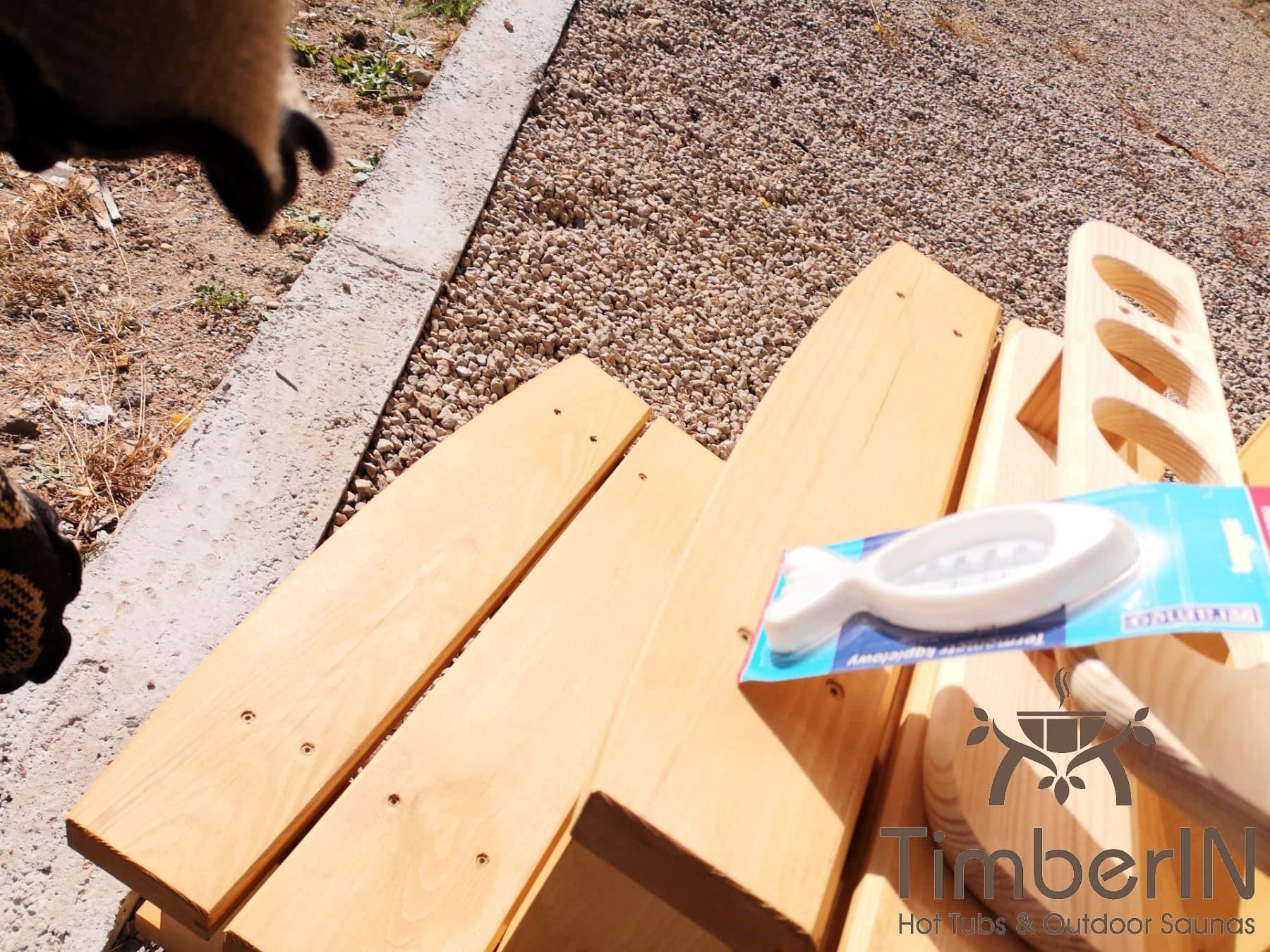 Badezuber aus Holz mit Holzofen Fichte – Laerche 7