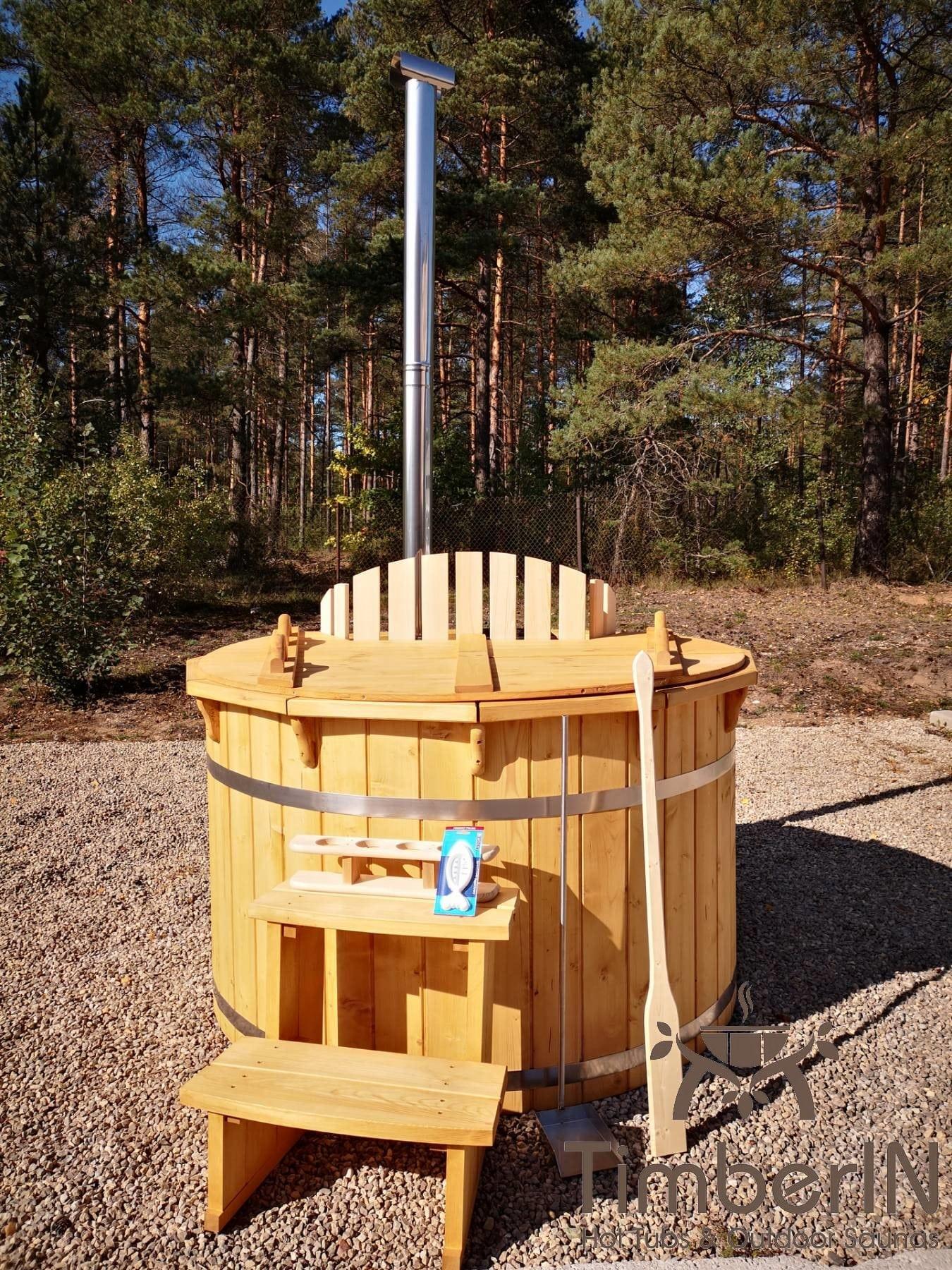 Badezuber aus Holz mit Holzofen Fichte – Laerche 8