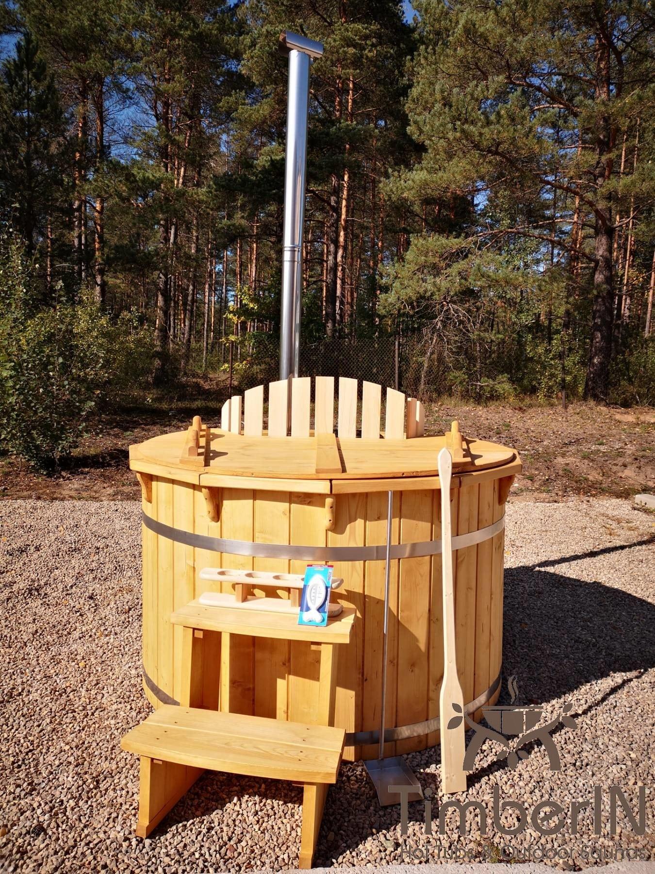 Badezuber aus Holz mit Holzofen Fichte – Laerche 9