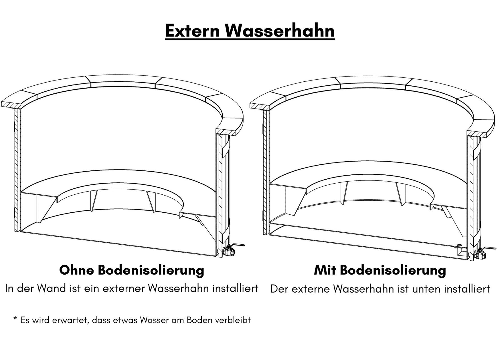 Badezuber mit Kunststoffeinsatz fuer Selbstgestaltung Extern Wasserhahn 1