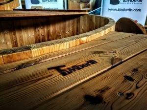 Holzbadebottich aus Thermoholz mit Luftspruddel und LED Licht 19