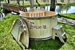 Holzbadetonne Basic Modell mit Innen oder Aussenofen 11